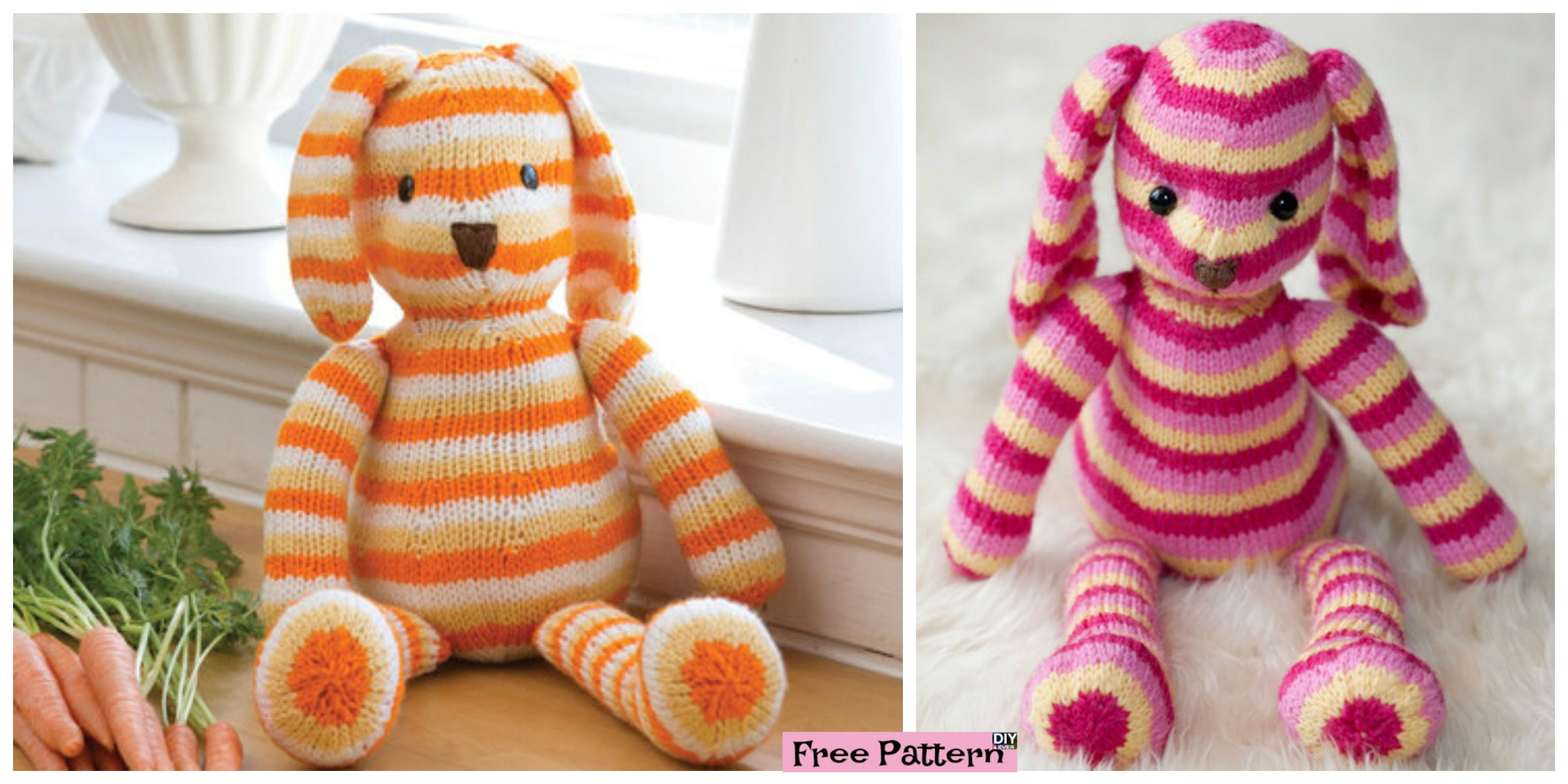 Adorable Striped Knit Bunny – Free Pattern