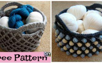 diy4ever-Beautiful Crochet Round Basket - Free Pattern