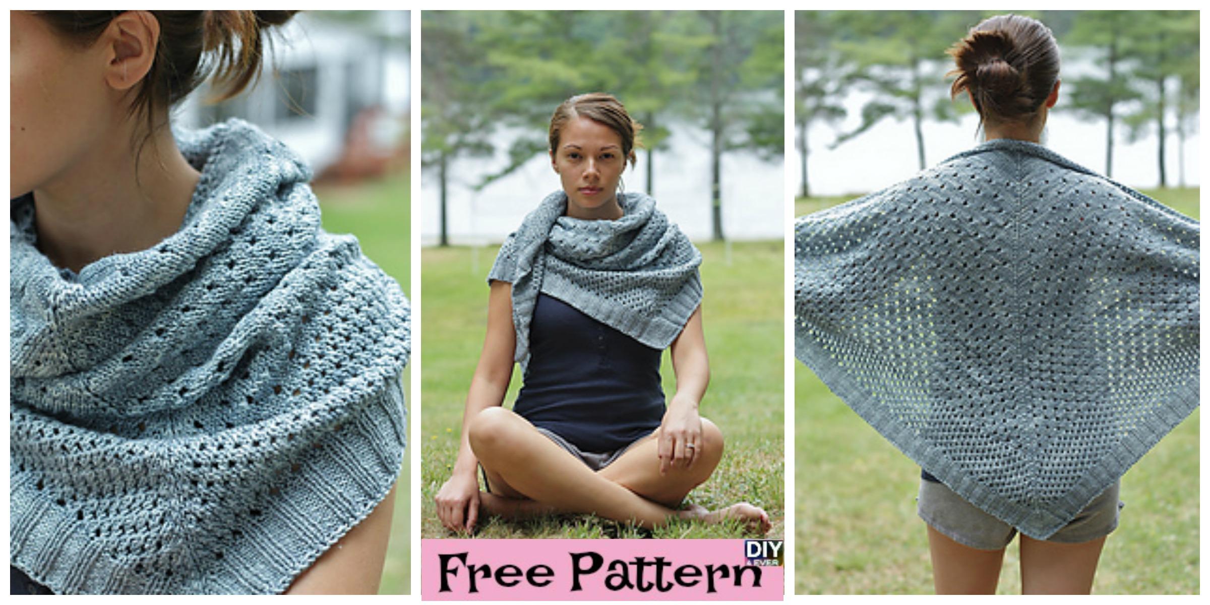 Beautiful Knit Triangle Shawl  – Free Pattern