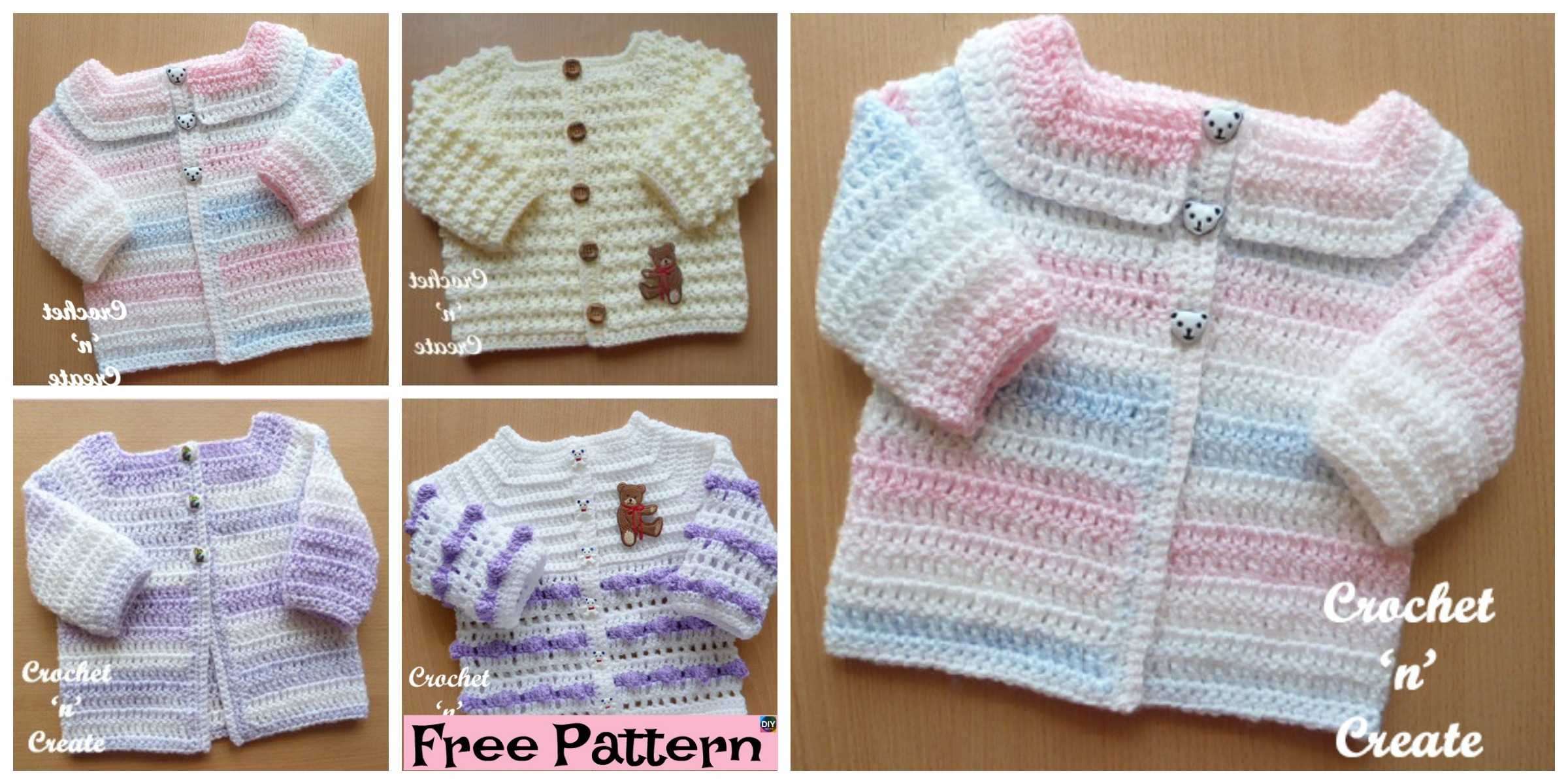 Cozy Crocheted Baby Cardigan – Free Patterns