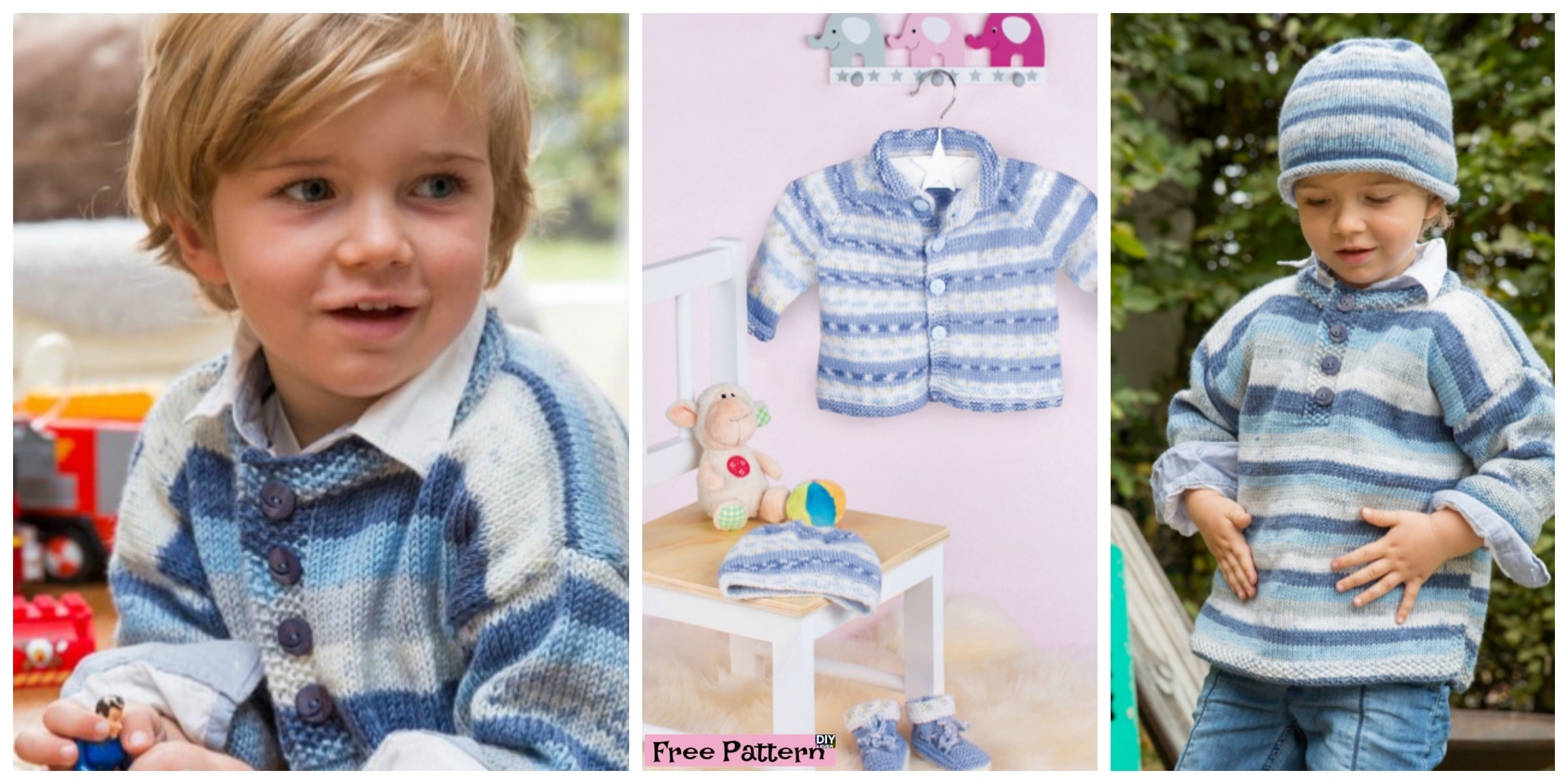Cozy Kids  Knit Sweater Set- Free Pattern
