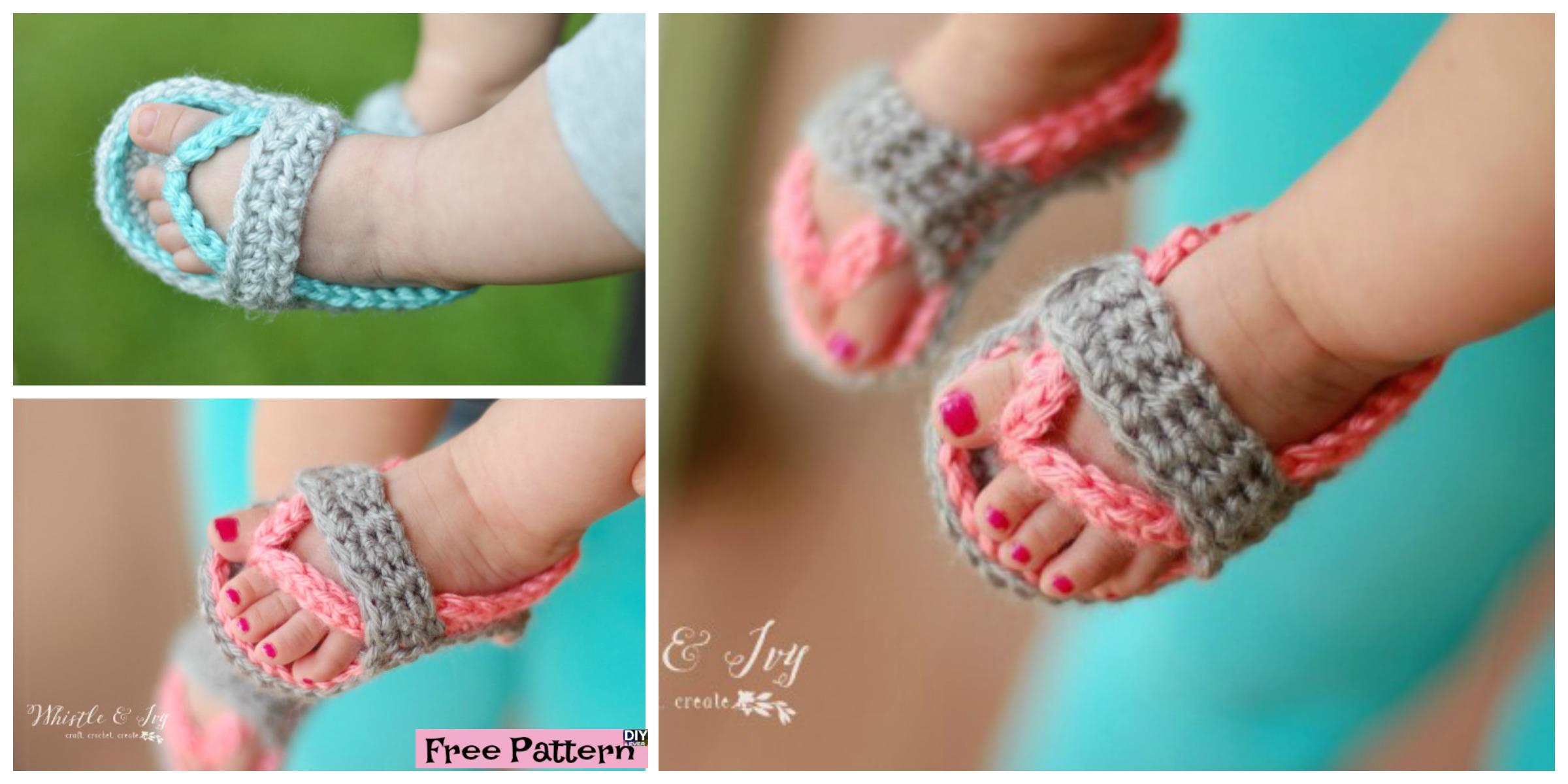 Crochet Baby Flip Flop Sandals -Free Pattern