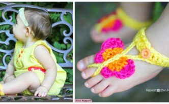 diy4ever- Cute Crochet Butterfly Sandals - Free Pattern