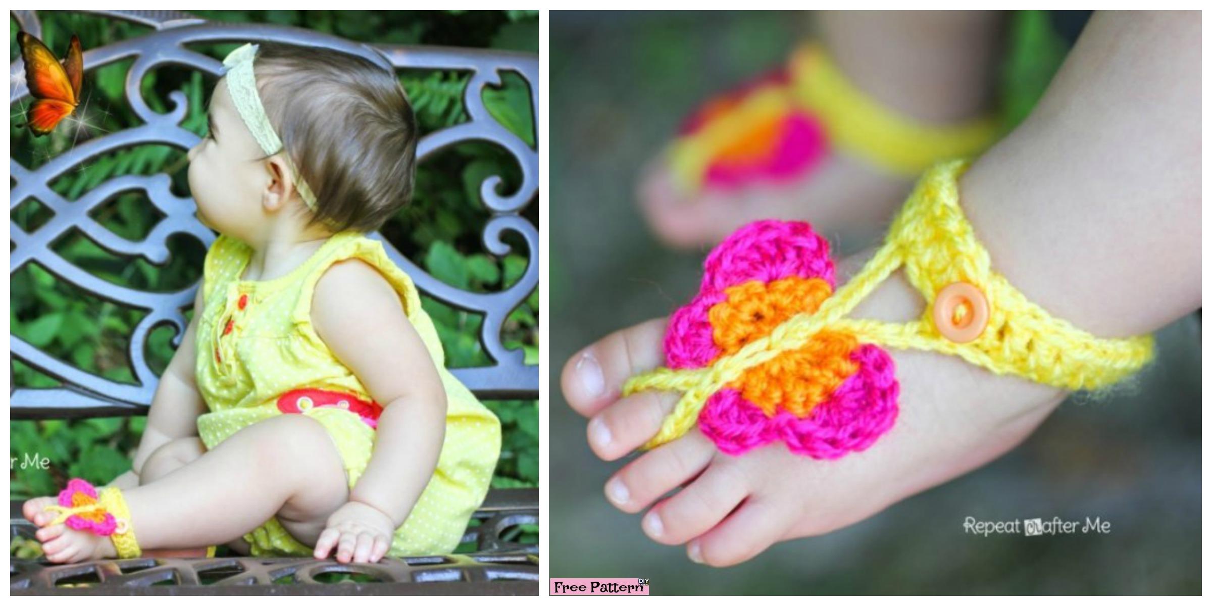 Cute Crochet Butterfly Sandals – Free Pattern