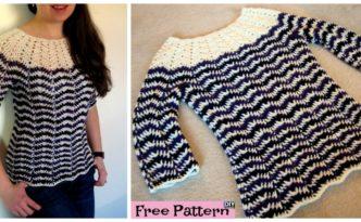 diy4ever- Crochet Chevron Stripes Sweater - Free Pattern