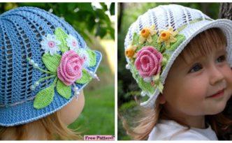 diy4ever -Crochet Flower Sun Hats - Free Pattern