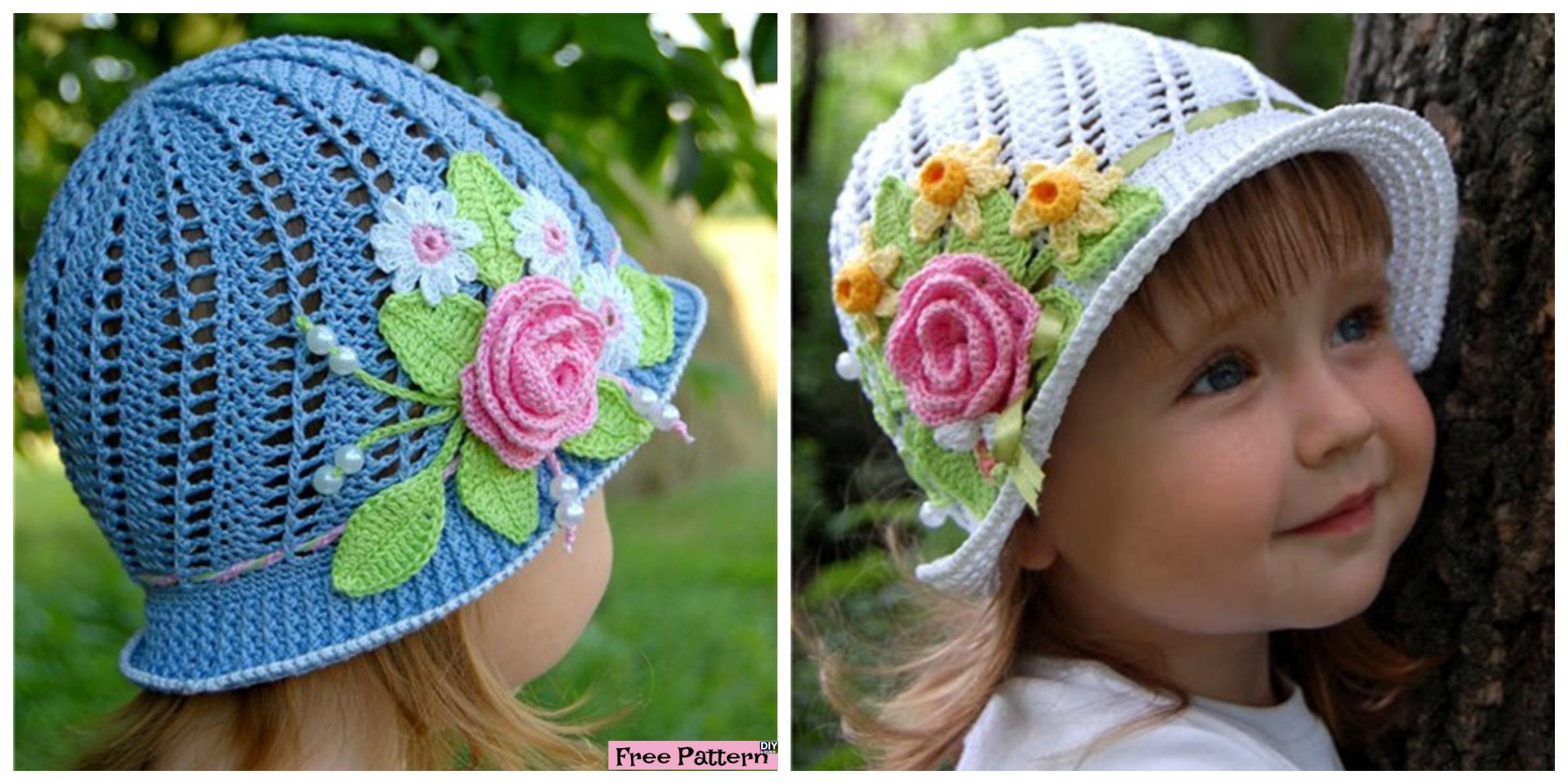 Crochet Flower Sun Hats – Free Pattern