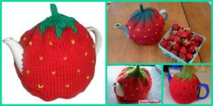 diy4ever- Cute Knitted Strawberry Tea Cosy - Free Pattern