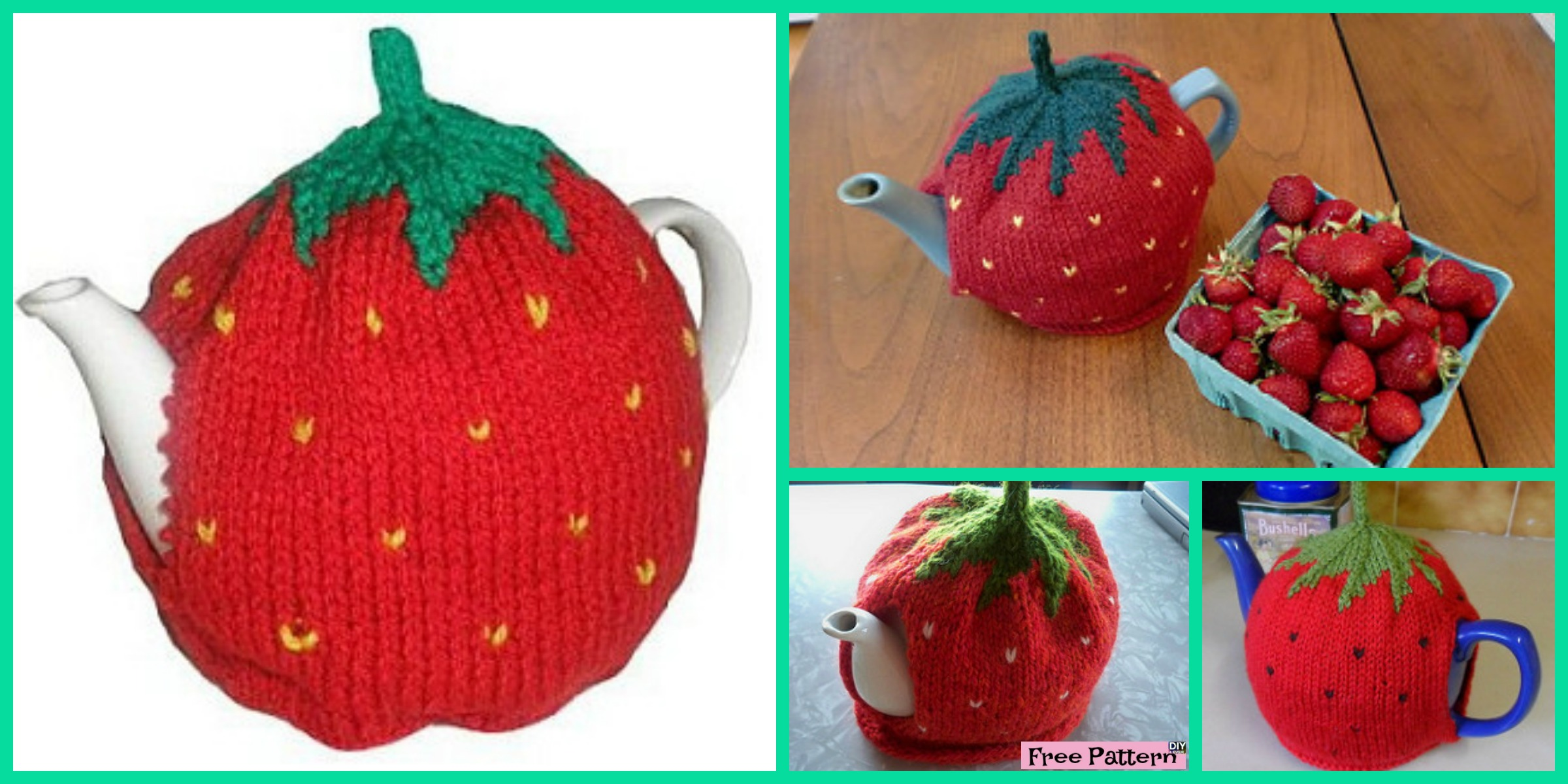 Cute Knitted Strawberry Tea Cosy – Free Pattern