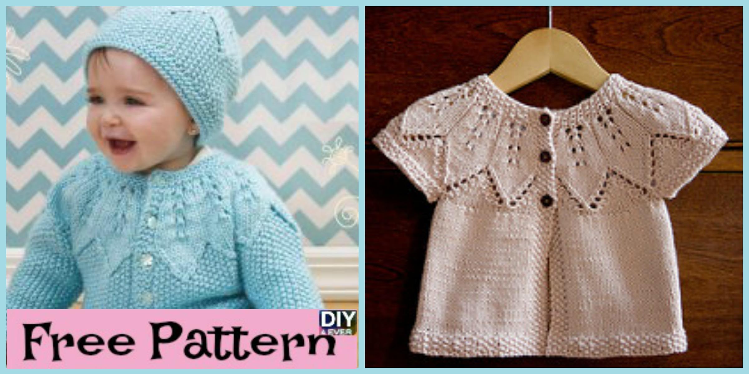 Cute Knitting Baby Cardigan  – Free Patterns