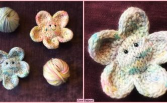 diy4ever- Cute Smiley Knit Flower - Free Pattern