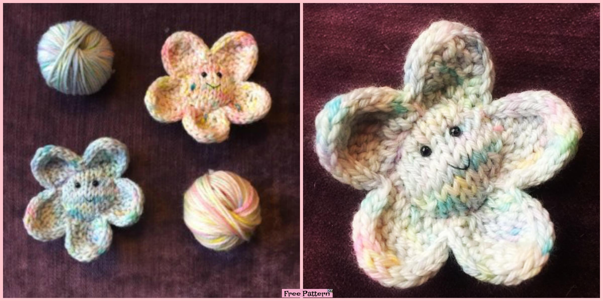 Cute Smiley Knit Flower – Free Pattern