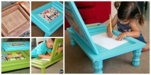 diy4ever- DIY Art Desk From Recycled Cabinet Door
