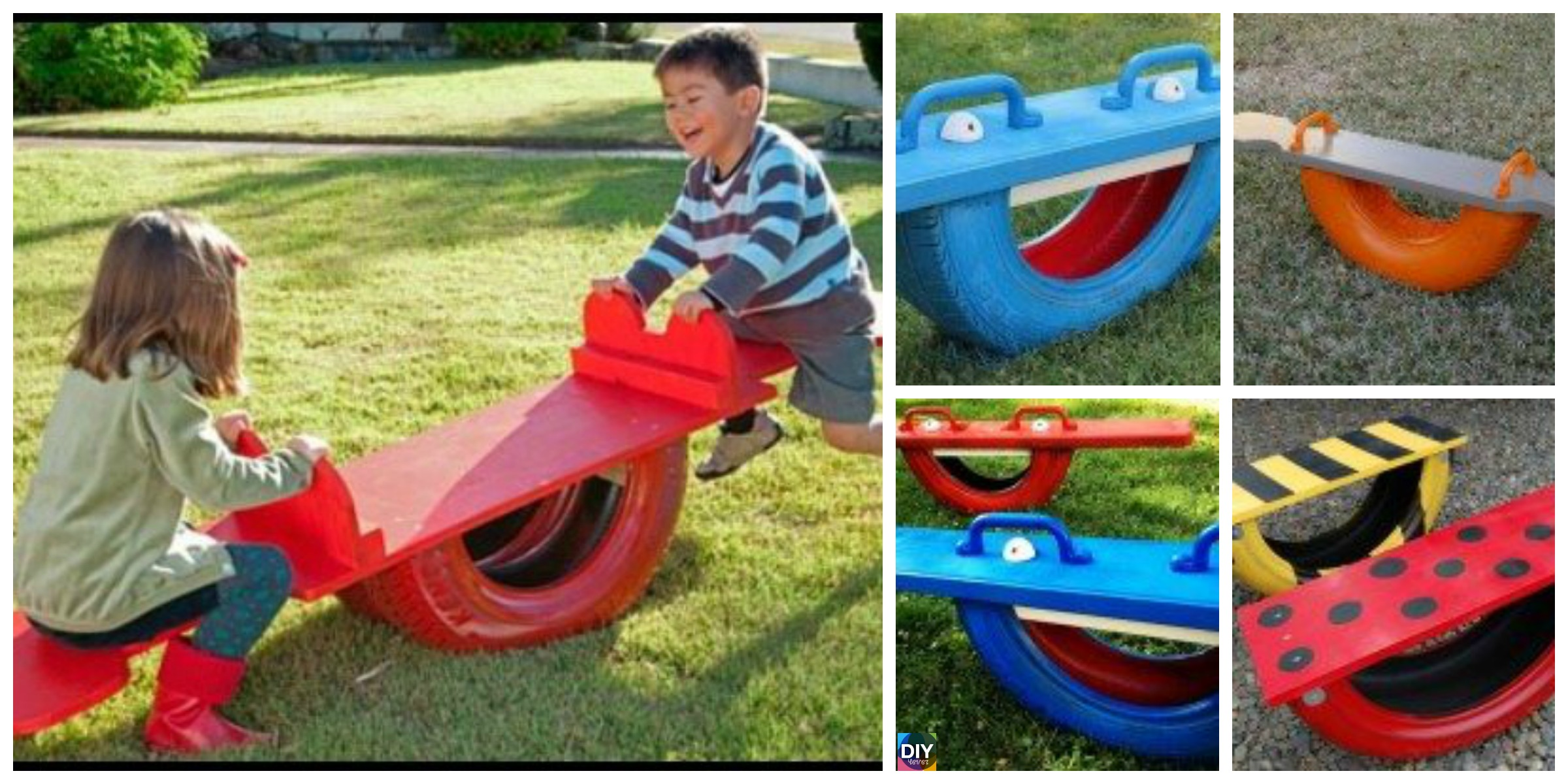 DIY Seesaw from Repurposed Old Tire