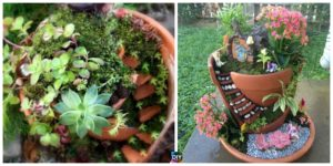 diy4ever- Delightful DIY Fairy Garden in a Broken Pot