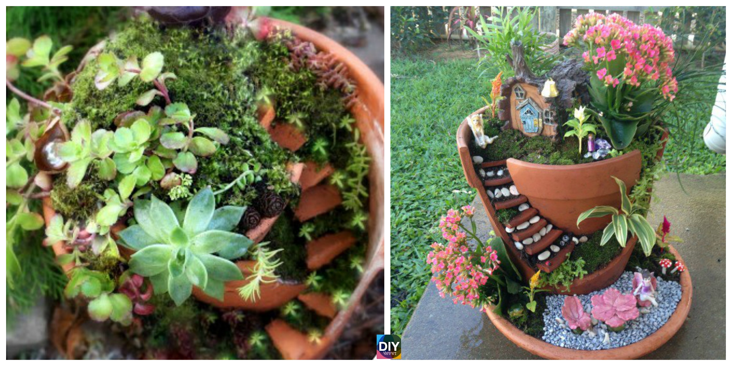 Delightful DIY Fairy Garden in a Broken Pot