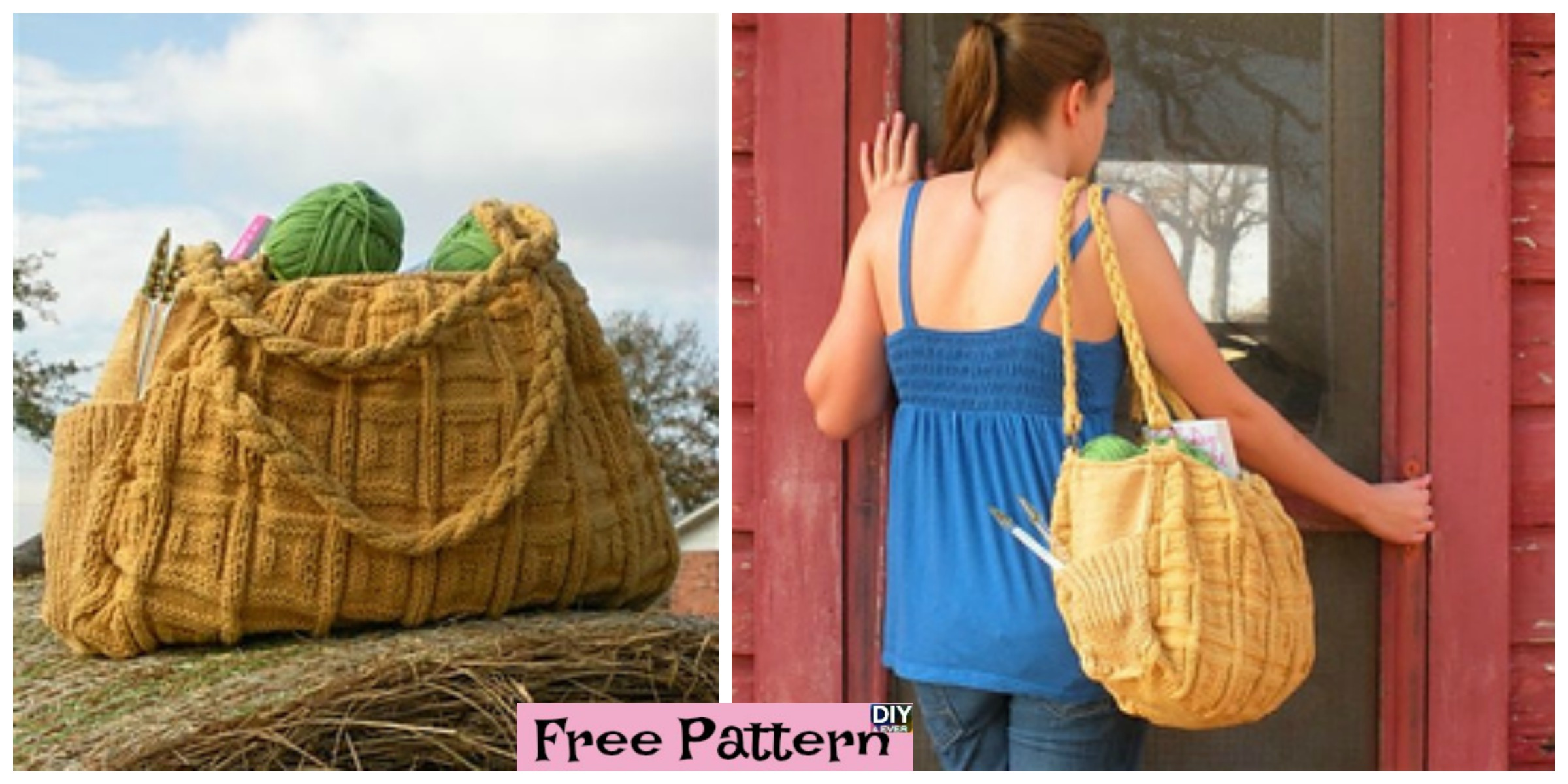 Simple and Generous Knitted Bag – Free Pattern