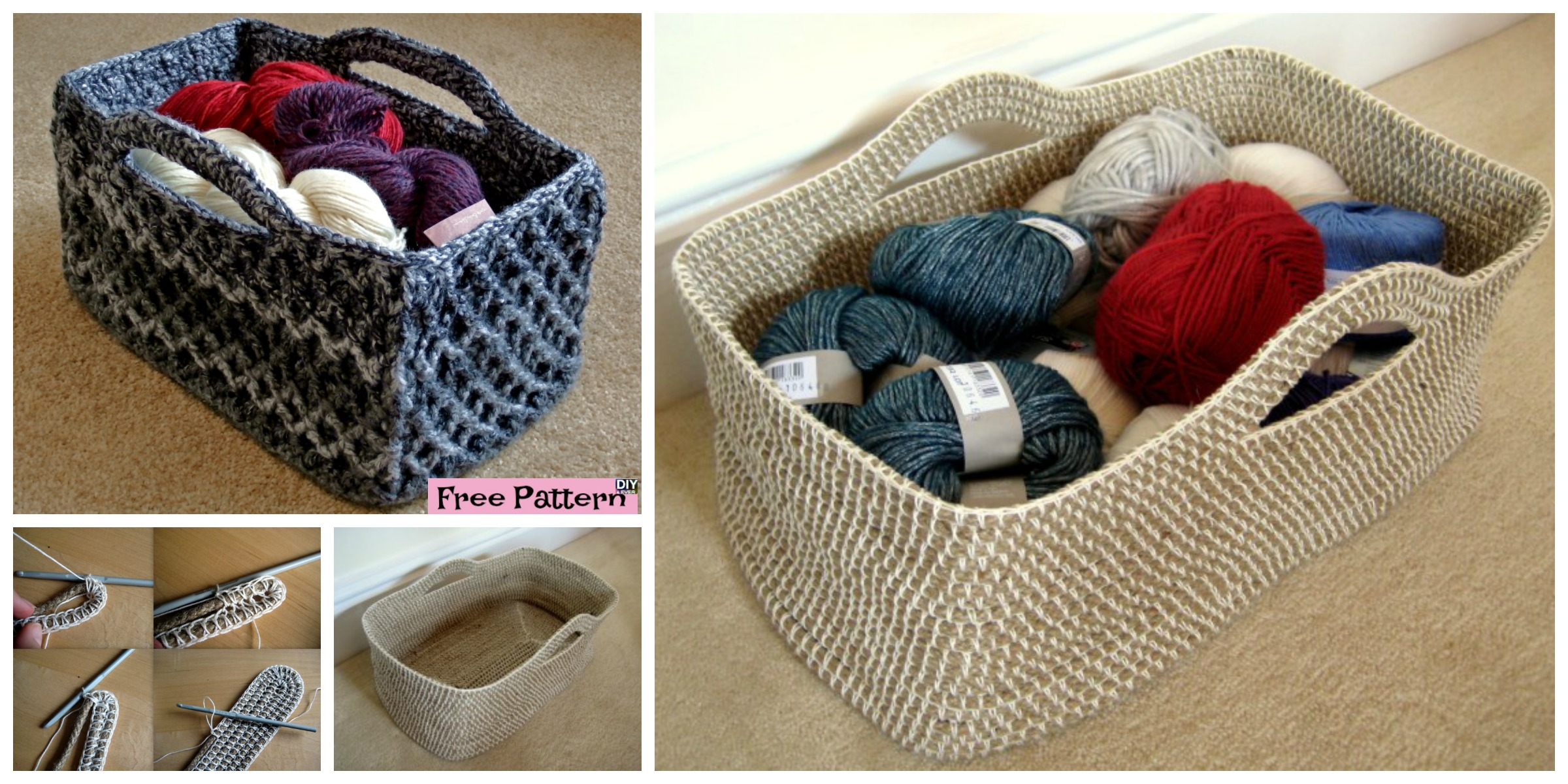 Useful Crochet Rectangle Basket – Free Pattern