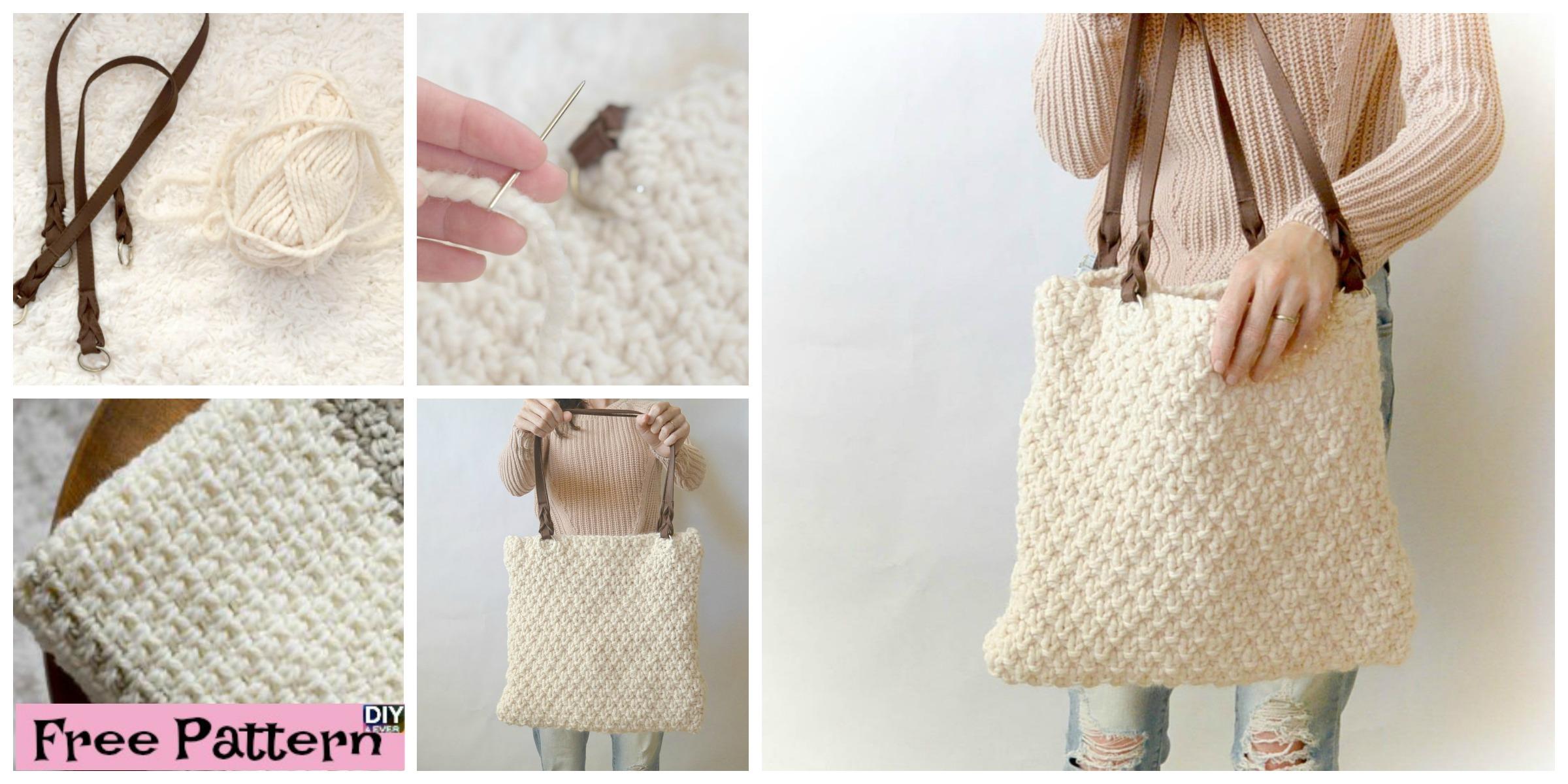 Double Seed Stitch Knit Bag – Free Pattern