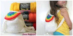 Cute Crochet Rainbow Backpack - Free Pattern