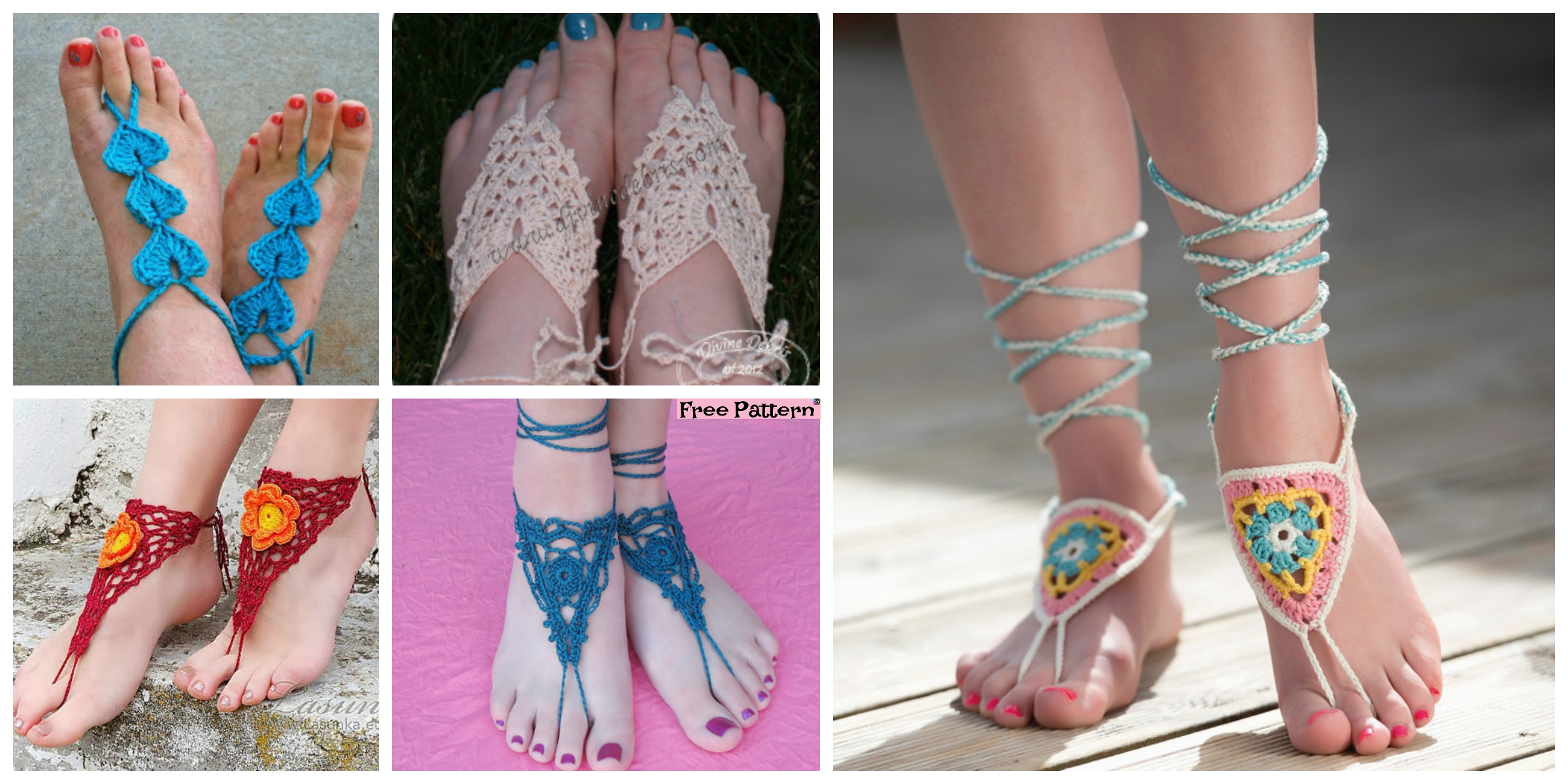 10 Most Unique Crochet Barefoot Sandals – Free Patterns