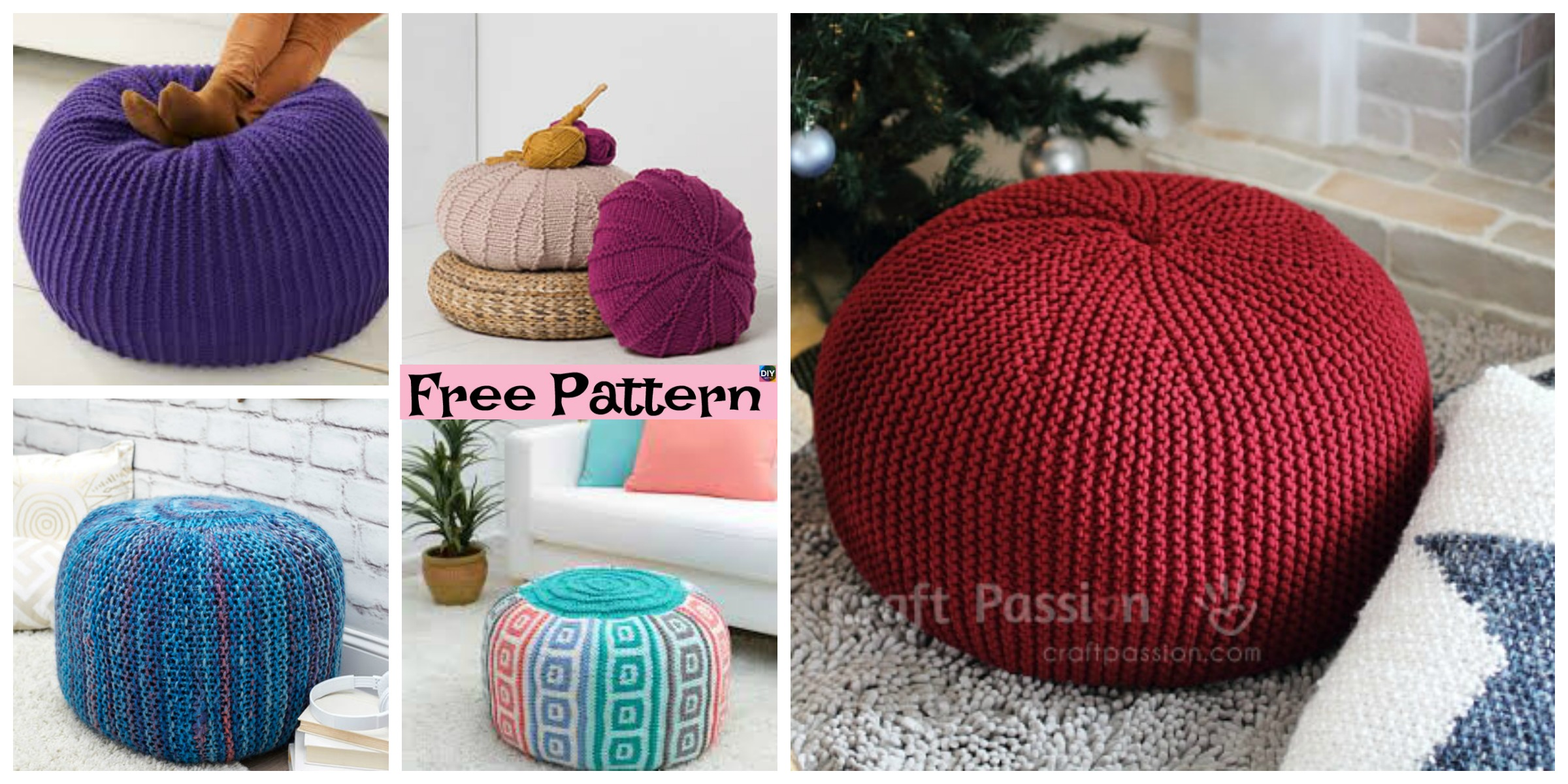 6 Beautiful Knitting Pouf Free Patterns