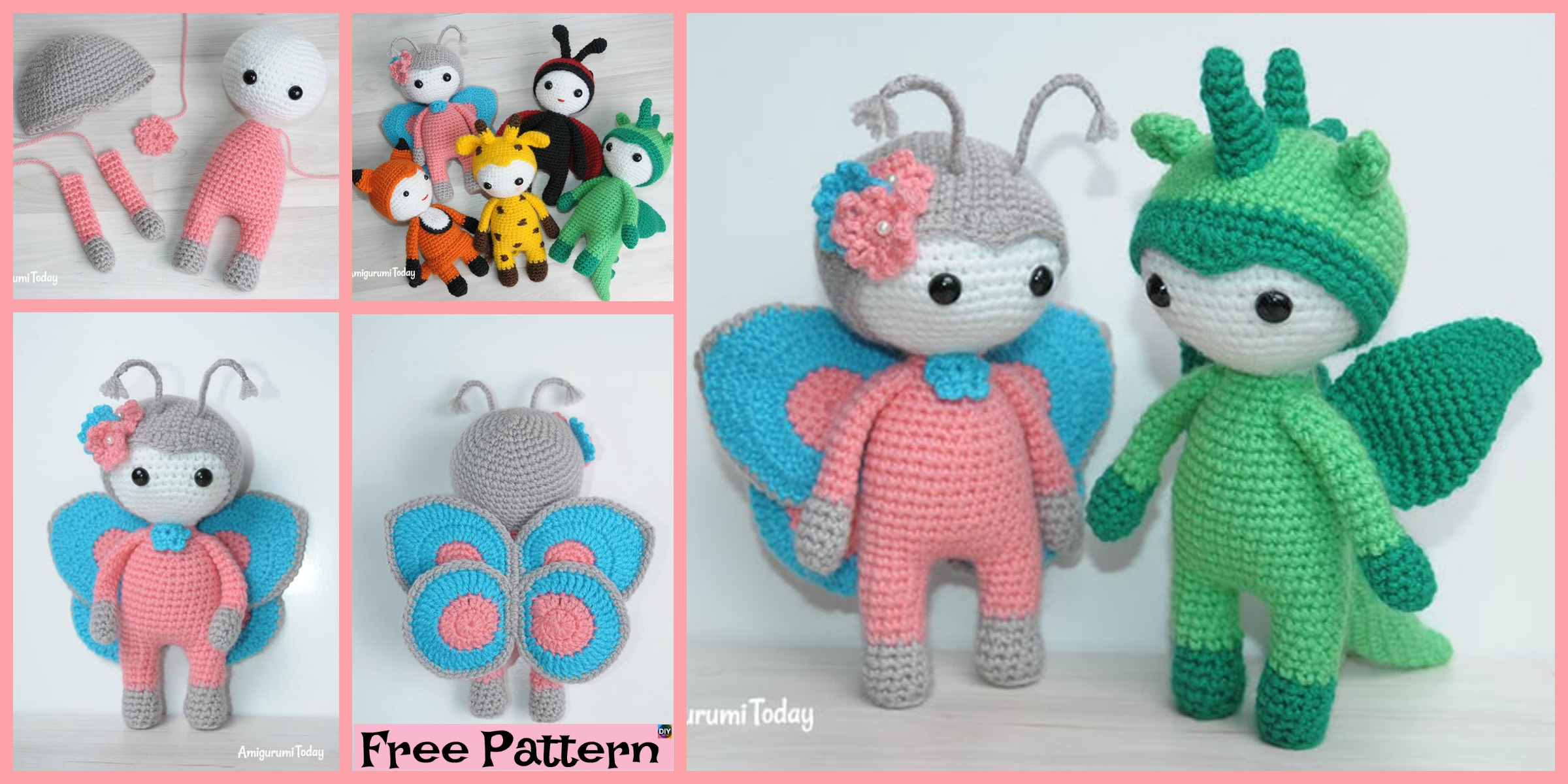 Amigurumi Crocheted Butterfly Doll – Free Pattern