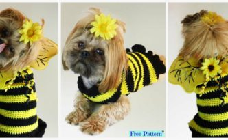 diy4ever-Bumble Bee Crochet Dog Sweater - Free Pattern
