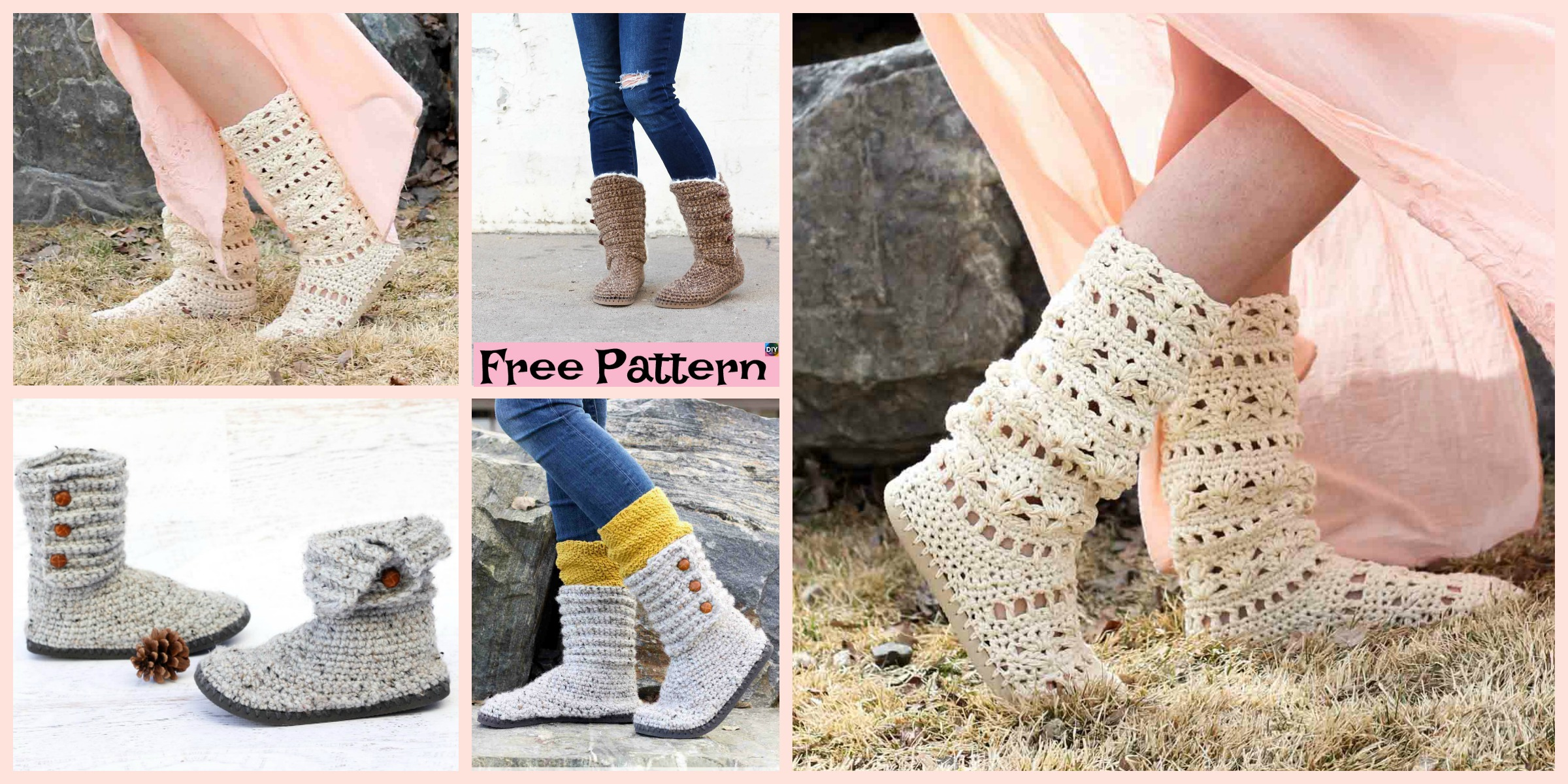 Crochet Boots with Soles –  Free Patterns