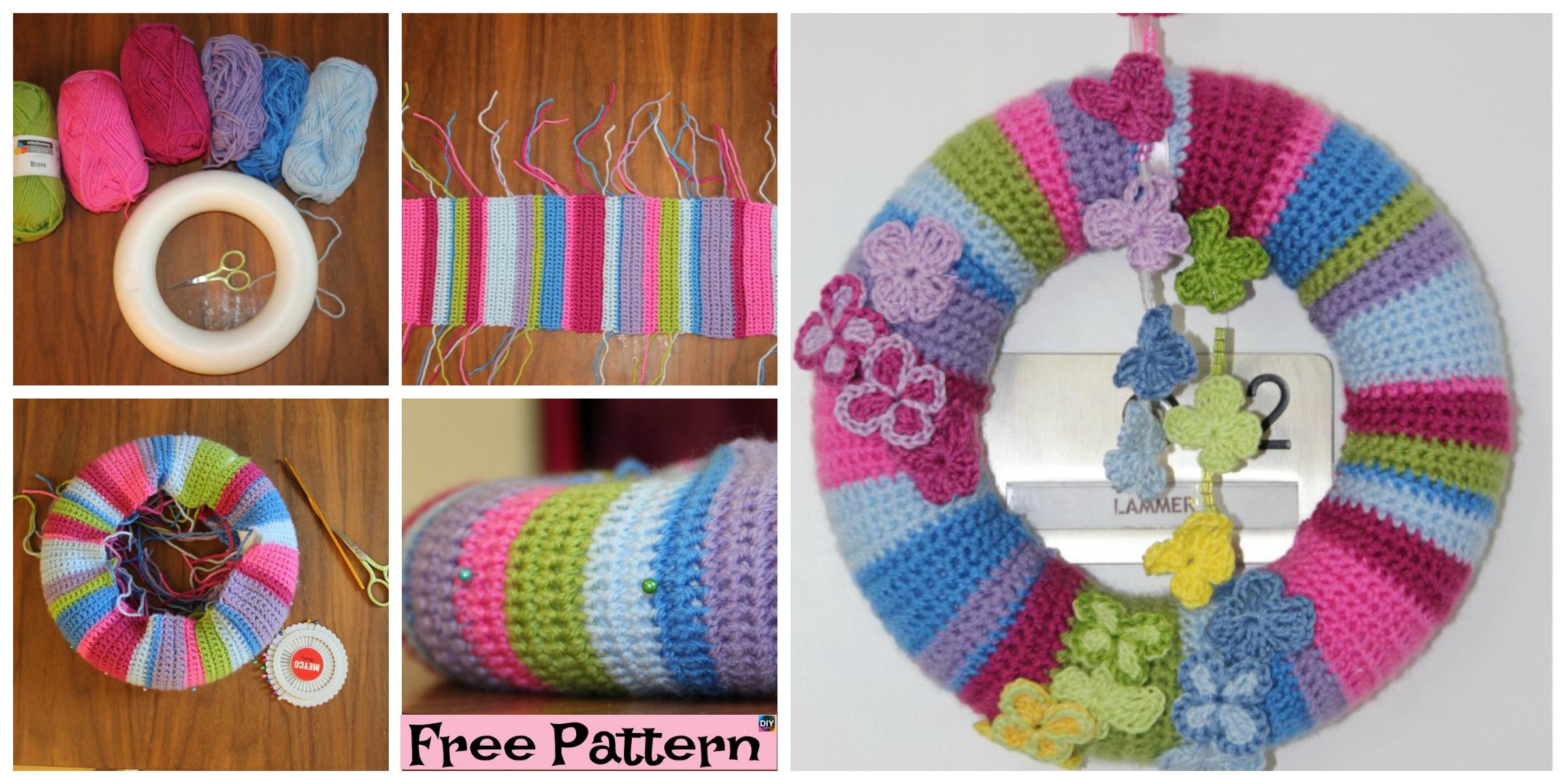 Crochet Butterfly Wreath – Free Pattern