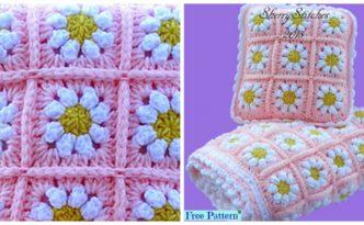 diy4ever- Crochet Daisy Flower Blanket - Free Pattern