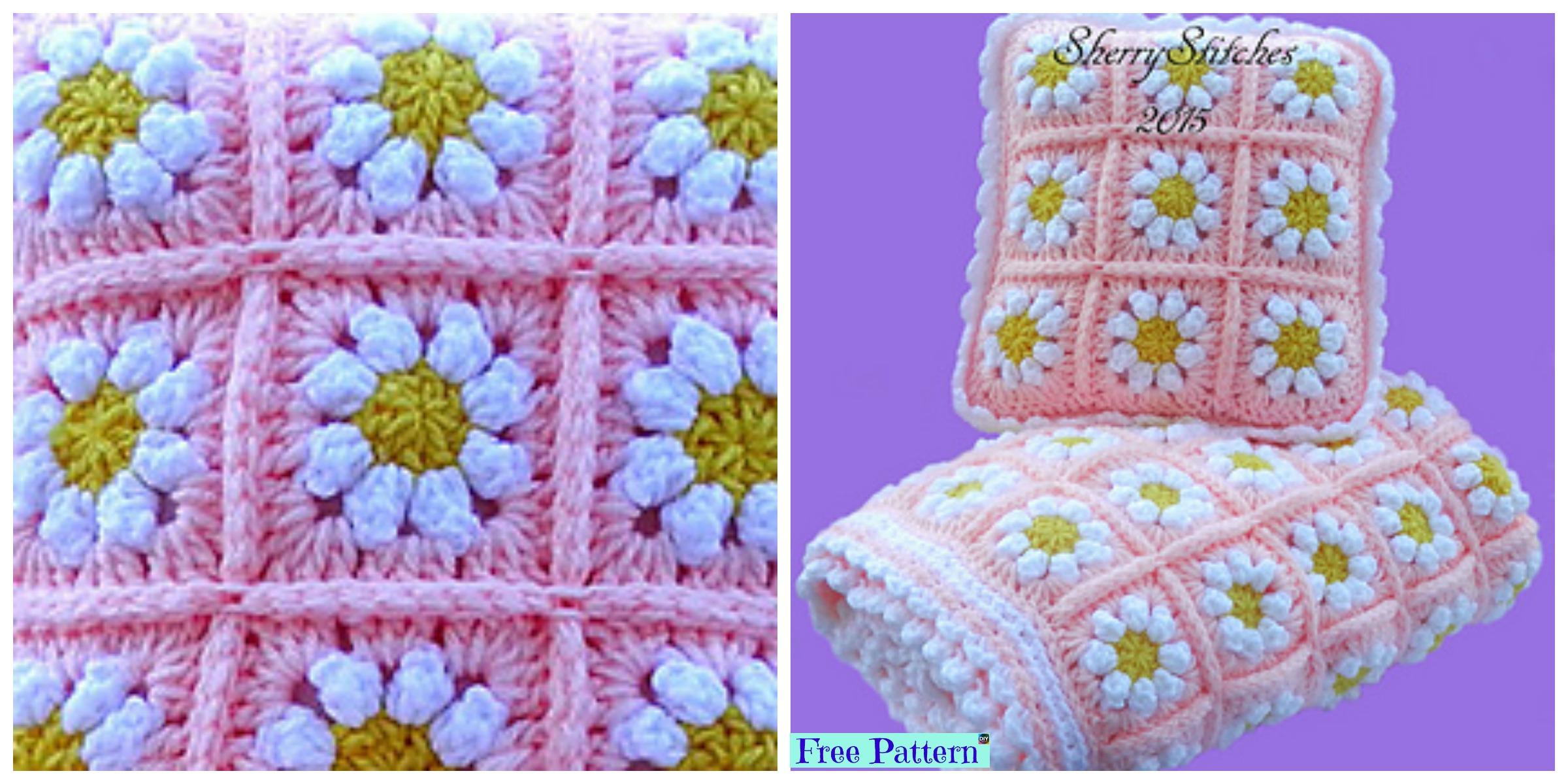 Crochet Daisy Flower Blanket – Free Pattern