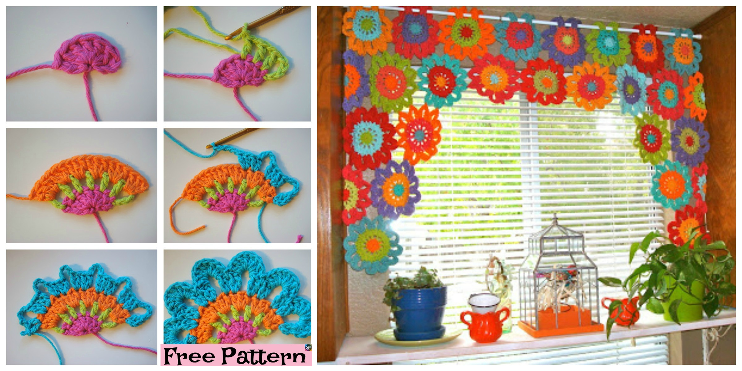 Beautiful Crochet Flower Power Valance – Free Pattern