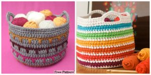 diy4ever-Crochet Spike Stitch Basket - Free Pattern
