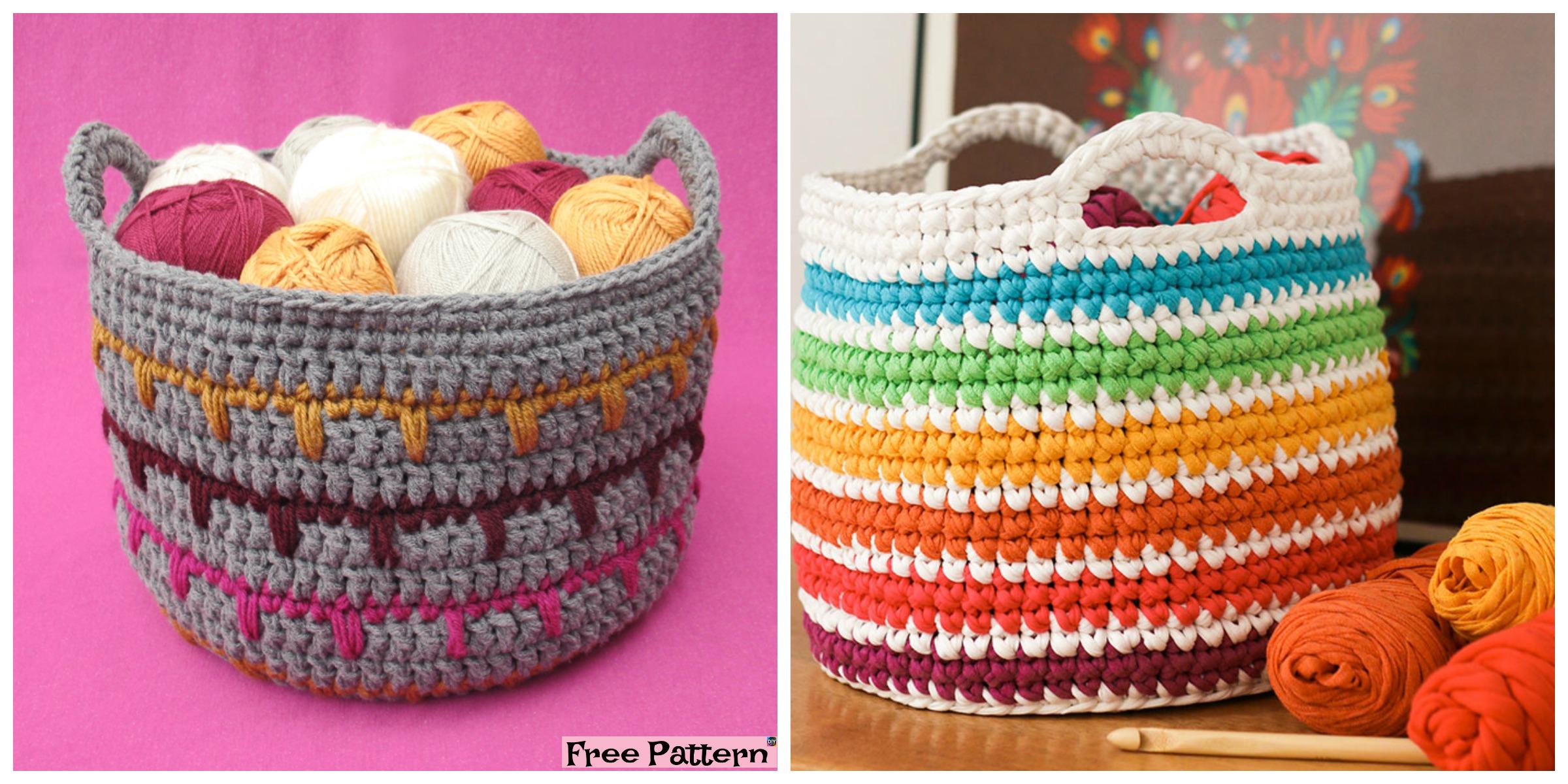 Crochet Spike Stitch Basket – Free Pattern