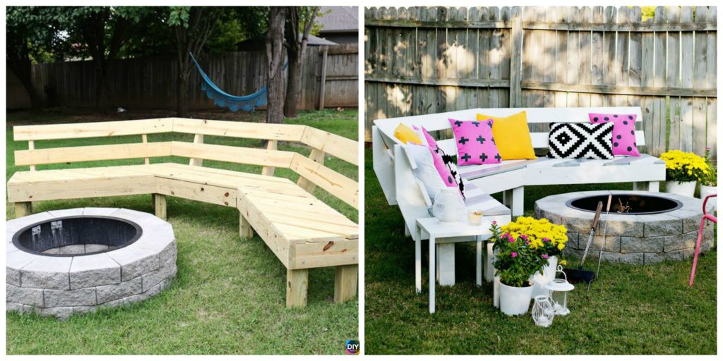 Curved Diy Fire Pit Bench Step By Step Tutorial Diy 4 Ever