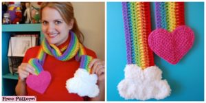 diy4ever- Cute Crochet Rainbow Scarf - Free Pattern