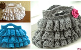 diy4ever- Cute Crochet Ruffled Bag - Free Pattern