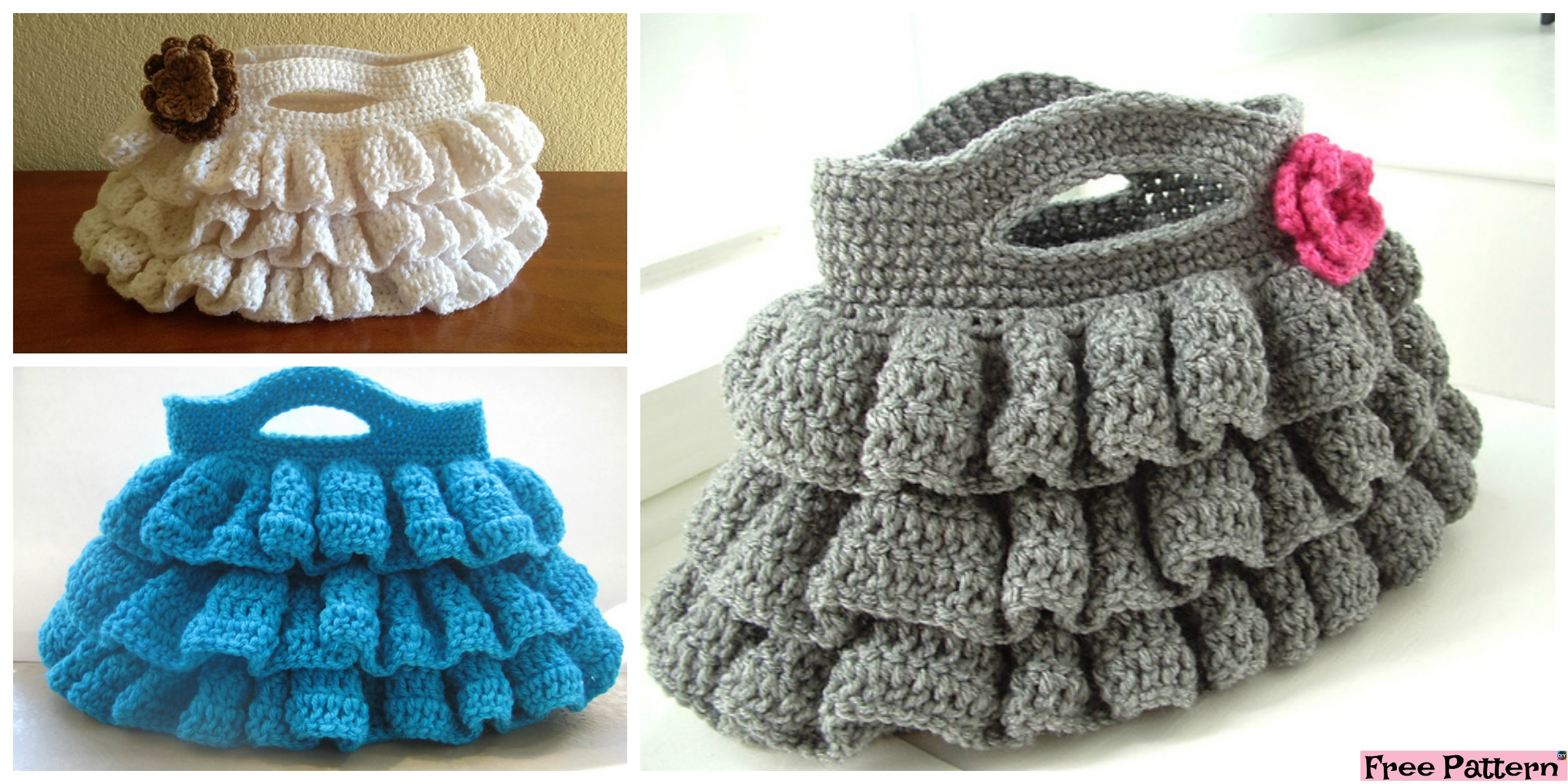 Cute Crochet Ruffled Bag – Free Pattern