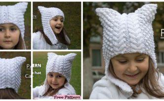 diy4ever-Cute Knitted Cat Ear Flap Hat
