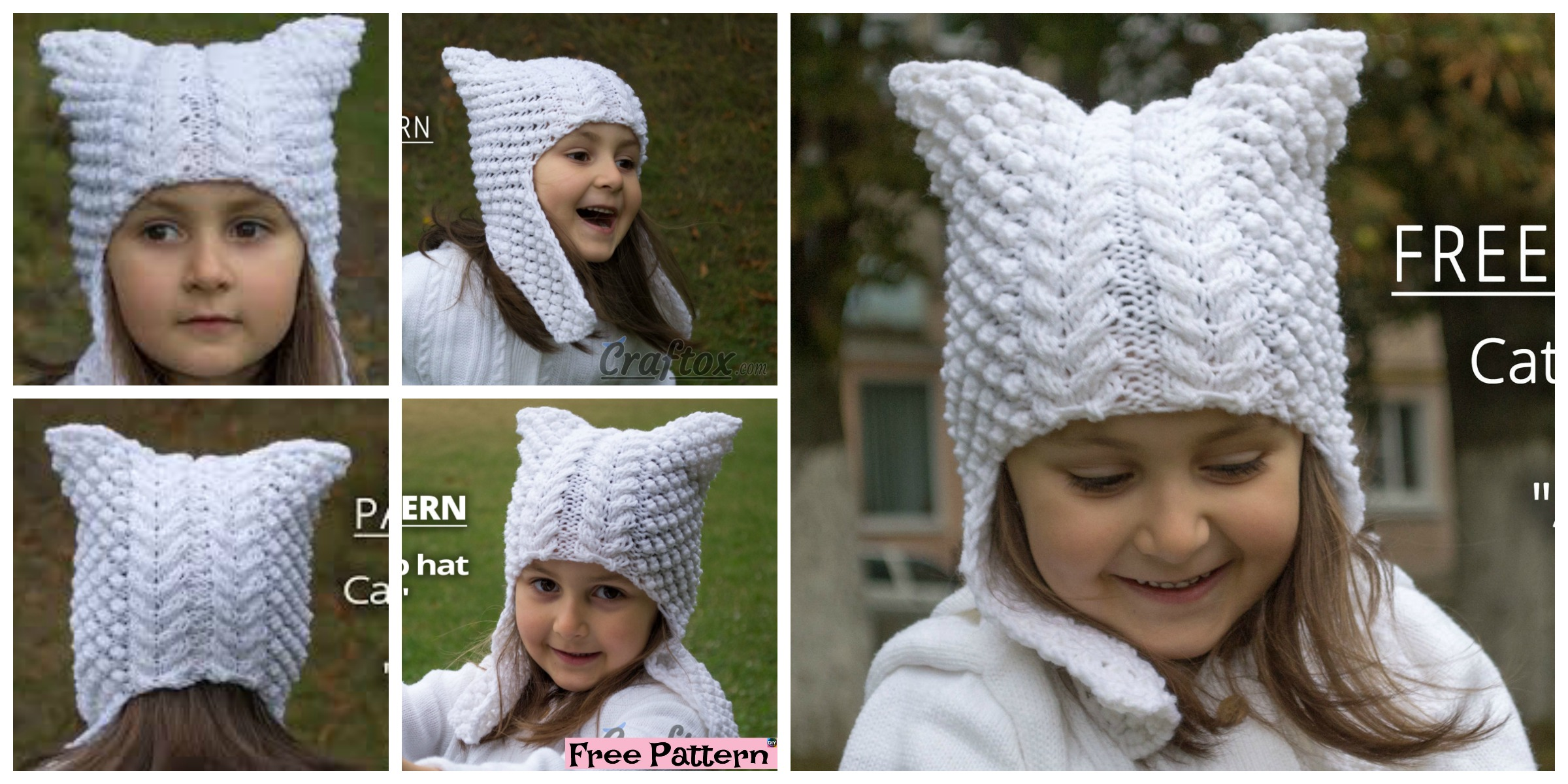Cute Knitted Cat Ear Flap Hat – Free Pattern
