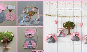 diy4ever-DIY Nursery Owl Mobile - Free Sewing Pattern