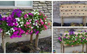 diy4ever-DIY Pallet Planter Box For Cascading Flowers
