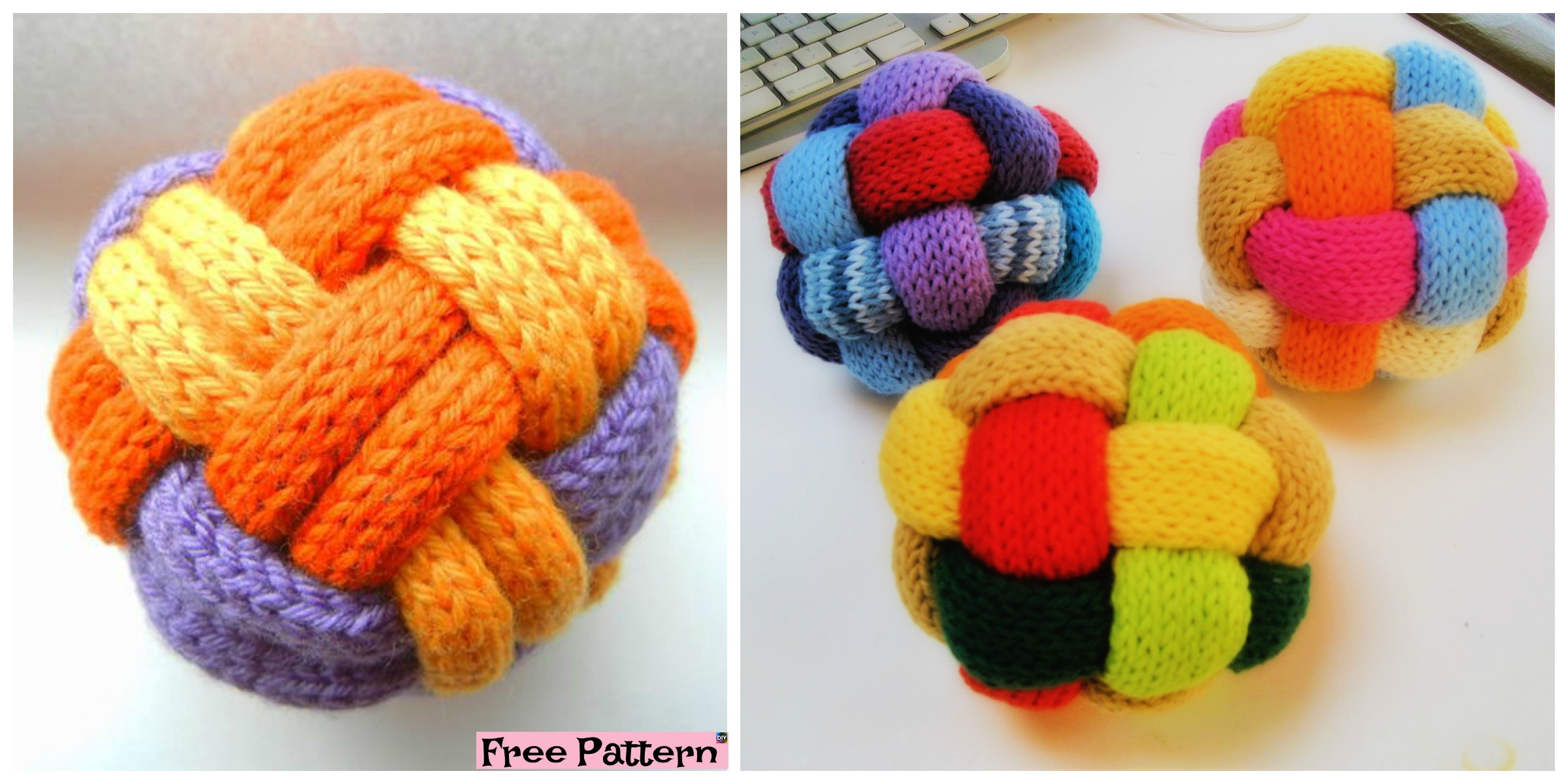 Decorative Knitted Braided Ball – Free Pattern