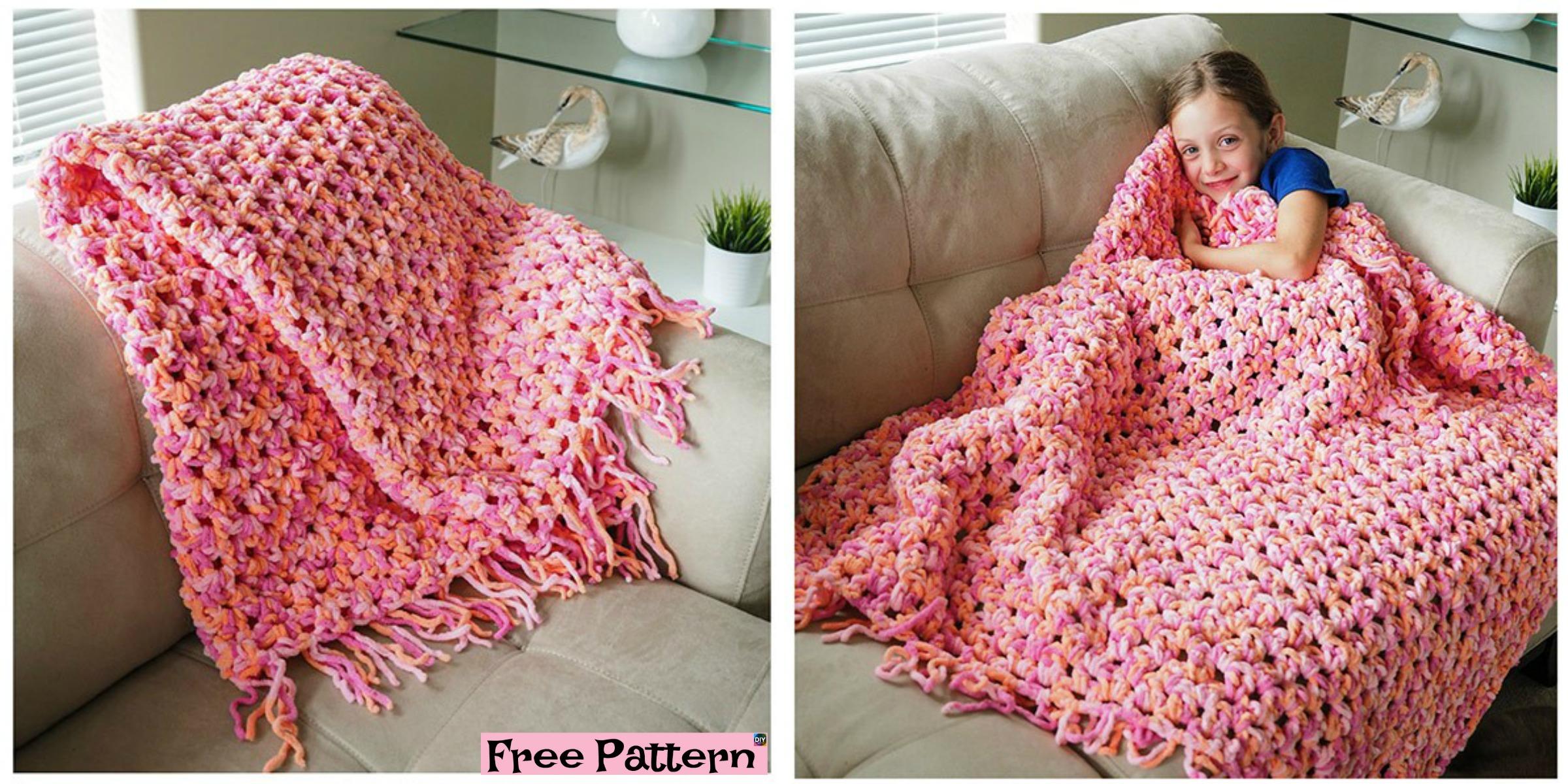 Easy Crocheted Cozy Blanket – Free Pattern