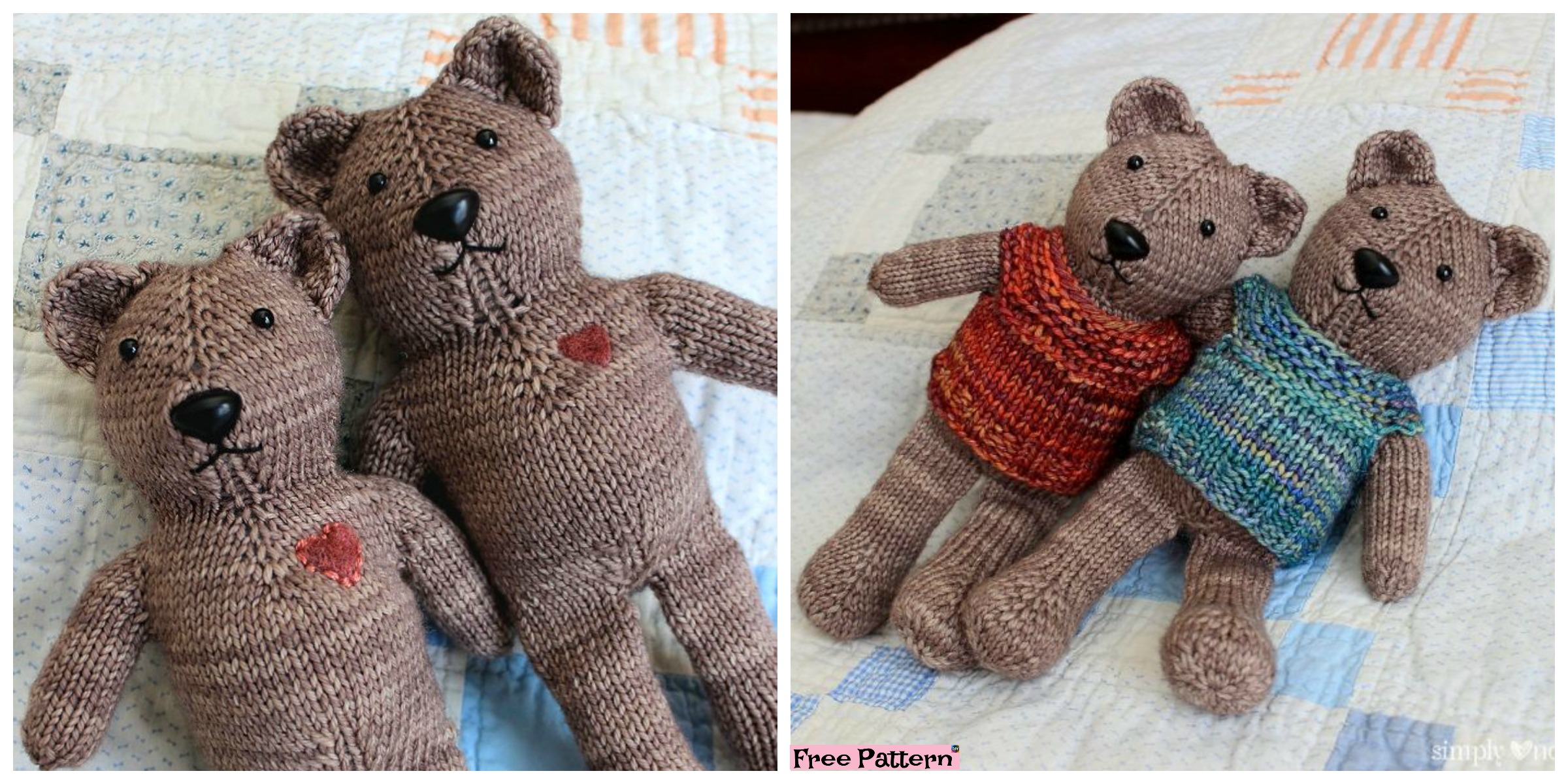 One Piece Knitted Teddy Bear – Free Pattern