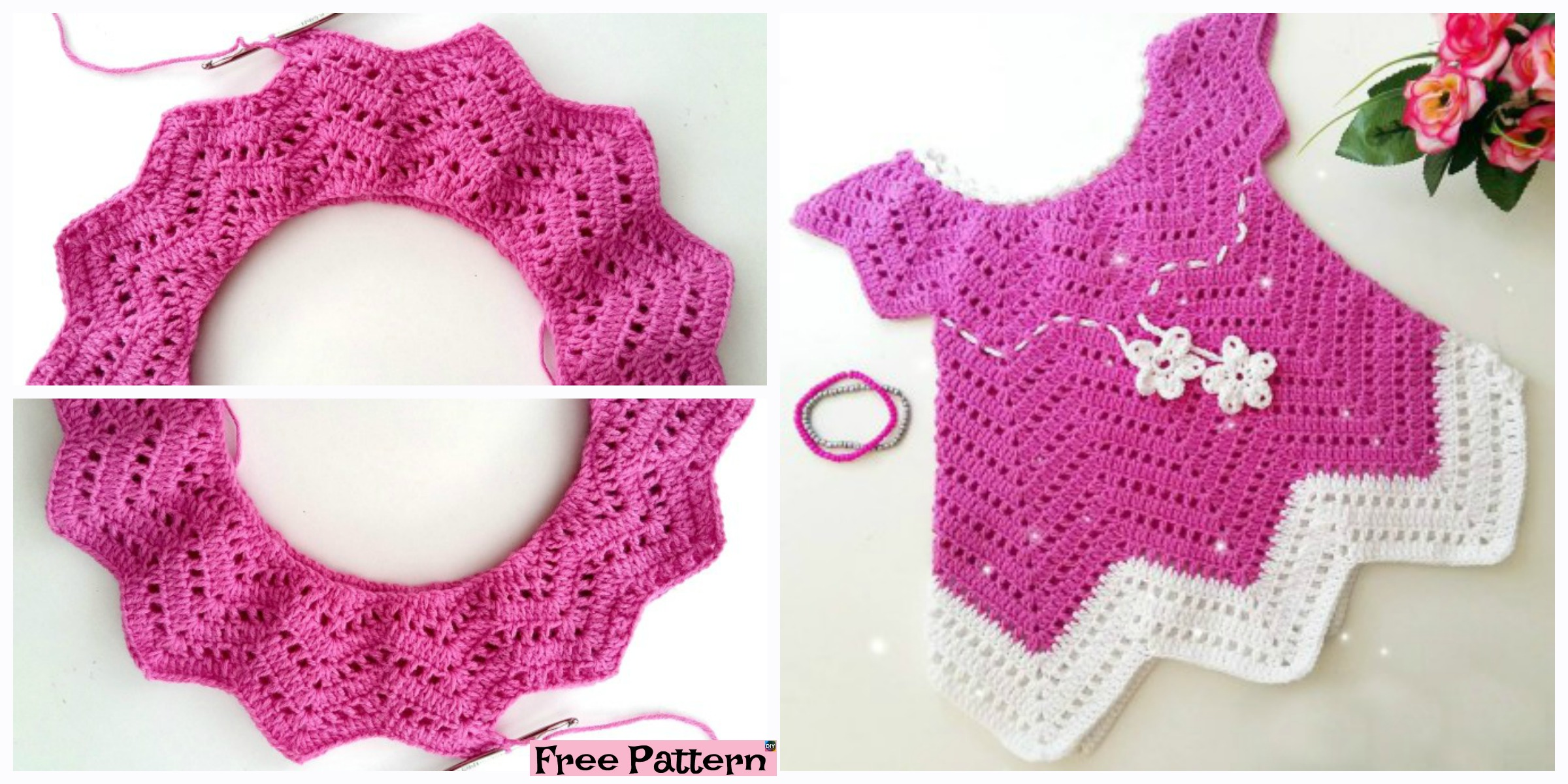 Pretty Crochet Baby Blossom Dress – Free Pattern