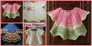 diy4ever-Pretty Crochet Baby Sweater - Free Pattern