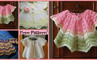 diy4ever-Pretty Crochet Baby Sweater - Free Pattern
