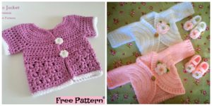 diy4ever-Pretty Crochet Kids Coat - Free Patterns